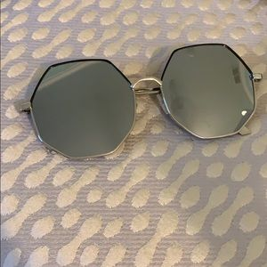 NWOT Silver Mirror Octagon Sunglasses